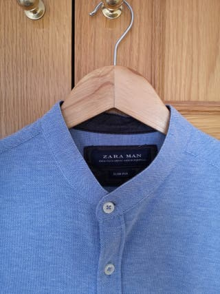 Camisa azul manga corta de cuello mahou ZARA