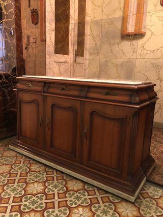Mueble recibidor marmol y madera, MUY BUEN ESTADO