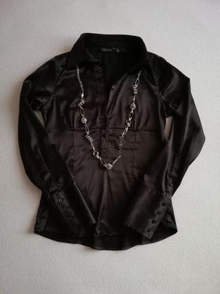 camisa raso negro zara