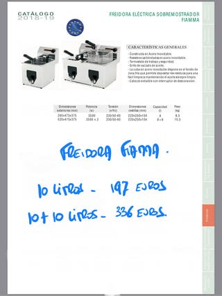 FREIDORA FIAMMA ELÉCTRICA 10 litros y 10+10 litros