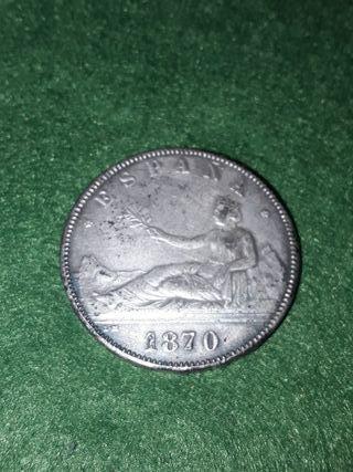moneda de 5 pesetas del año 1870