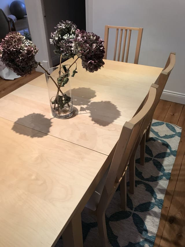 Dining table + chairs + bench