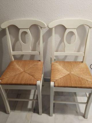 sillas de madera de haya y asiento artesano deanea