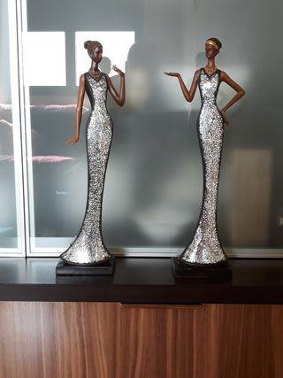 Conjunto estatuas de resina y cristal 45cm