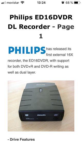 Grabadora CD/DVD Philips ED16DVDR