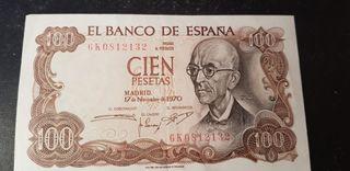 Billete de 100 pesetas del año 1970