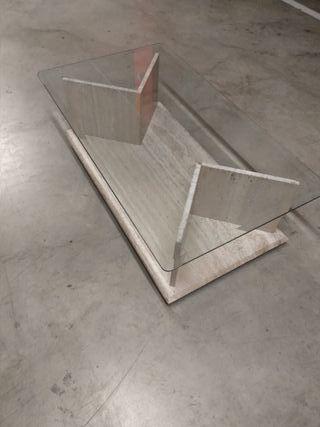 Mesa cristal y mármol