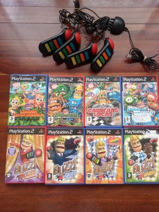 8 juegos Buzz para play+ 4 mandos Buzz