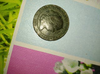 moneda de Isabel II 5 céntimos de escudo año 1868