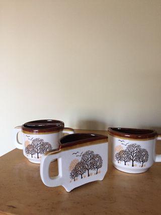 Juego de 4 tazas de cerámica con decoración otoñal