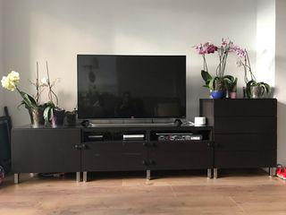 Mueble tv Besta Negro 4 módulos