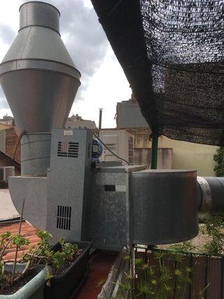 Campana extractora industrial con motor y variador