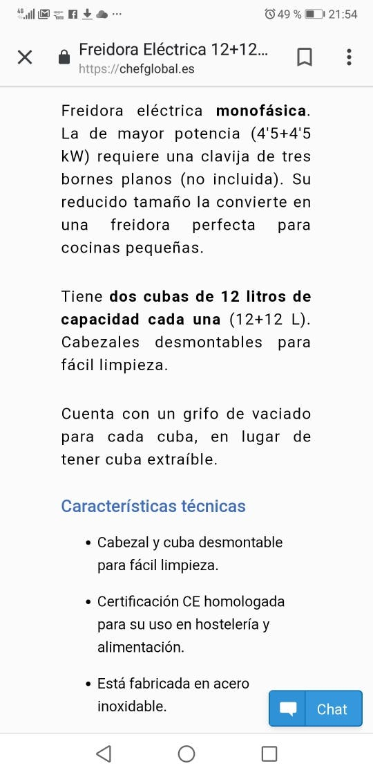 Freidora doble industrial 12+12