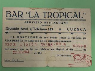 Bar La Tropical lotería navidad 1944