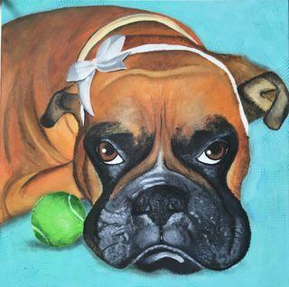 Retrato bóxer perro personalizado