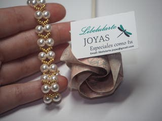 Pulsera de novia perlas cristal Swarovski