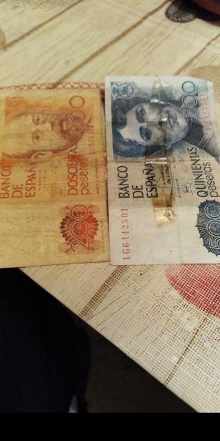 billete auténticos de 500 pesetas y 200 pesetas