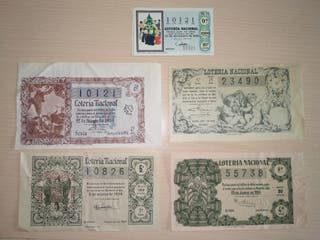 Lote 4 décimos lotería antigua