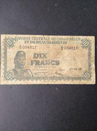 Congo Belga 10 francos.