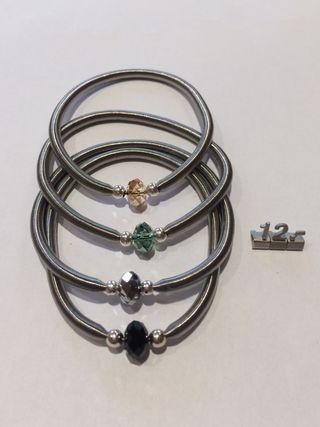 Pulseras plata acero y cristal swarovsky