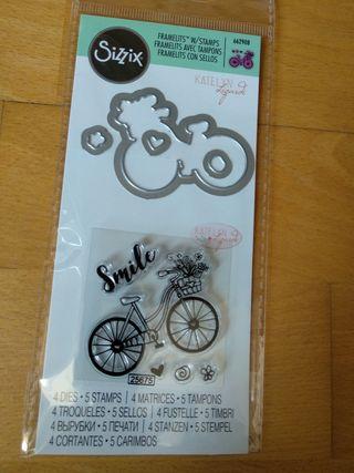 4 troqueles + 5 sellos bicicleta big shot sizzix