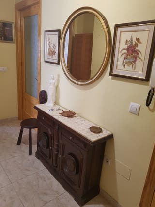 recibidor madera nogal con espejo