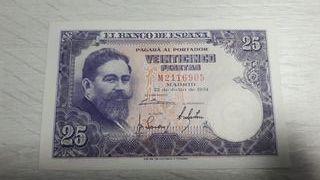 Billete de España de 25 Pesetas de 1954