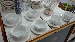 Juego de consome de porcelana Santa Clara de Vigo