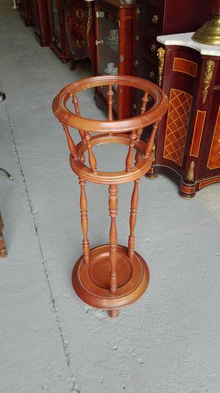 Macetero peana cesto, de madera