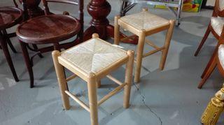 Juego de 2 taburetes de madera tipo enea