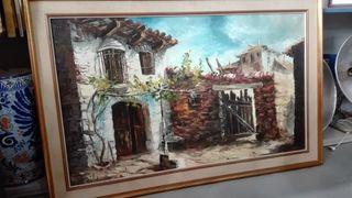 Cuadro oleo sobre lienzo Casas de pueblo 113x73 cm