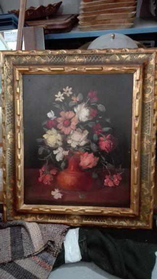 Cuadro oleo sobre tabla Flores 53x61