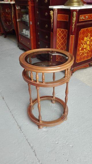 Mesa auxiliar redonda, cristal y madera Mide 38 cm