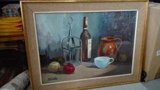 Cuadro oleo sobre lienzo Bodegón, 82.5x62.5 Con c