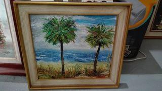 Cuadro oleo sobre lienzo Palmeras 50x46 cm