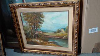 Cuadro oleo sobre lienzo Paisaje rio 56x50 marco d
