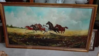 Cuadro oleo sobre lienzo Caballos 161x86 cm