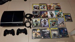 play station 3 con muchos juegos.ps3
