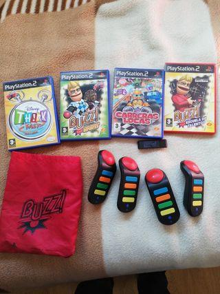 Mandos BUZZ inalámbricos, de Play 2, y juegos