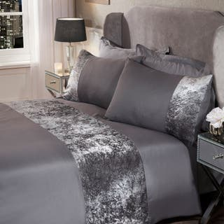 crushed velvet panel bedding set's & curtains