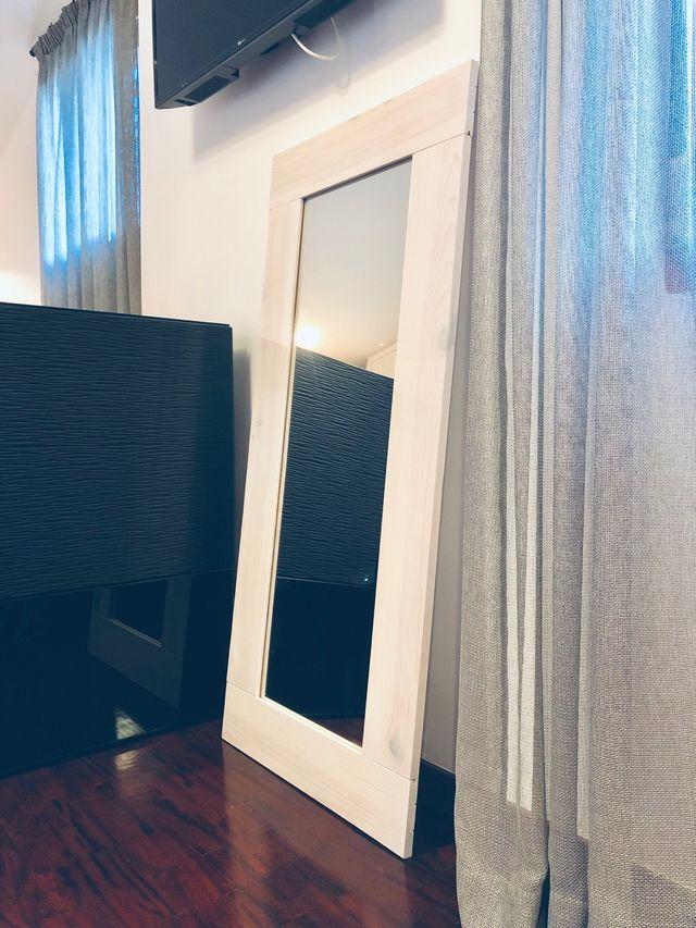 Espejo pared madera blanco