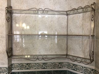 Estantería Baño esquinero Hierro forjado y cristal
