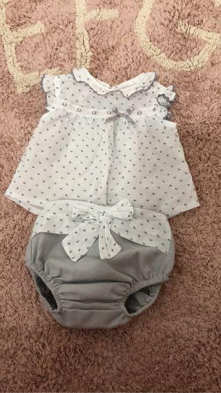 Conjunto niña/niño 6 meses en pique/plumeti
