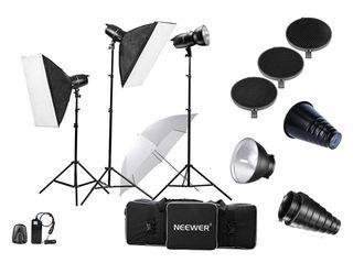 Kit luces de estudio fotos, 3 flash y accesorios
