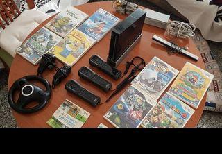 Wii negra + juegos + mandos + accesorios