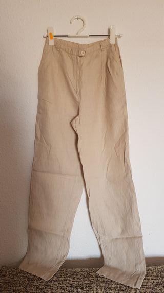 pantalón lino beige hecho a mano