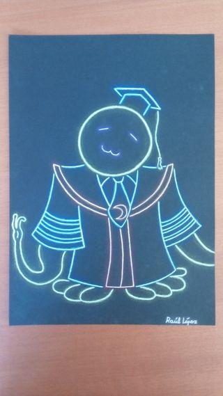 dibujo efecto neon de koro sensei