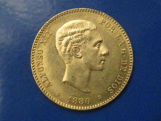 moneda oro 22 kilates año 1880 impecable.-original