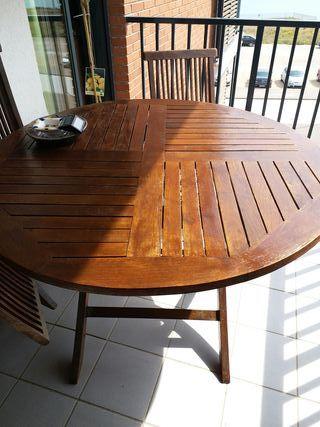 "Mesa,3 sillas plegables Teka""recién barnizado"""