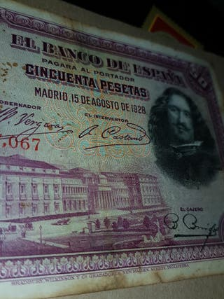 50 pesetas 1928.Son 3 billetes.